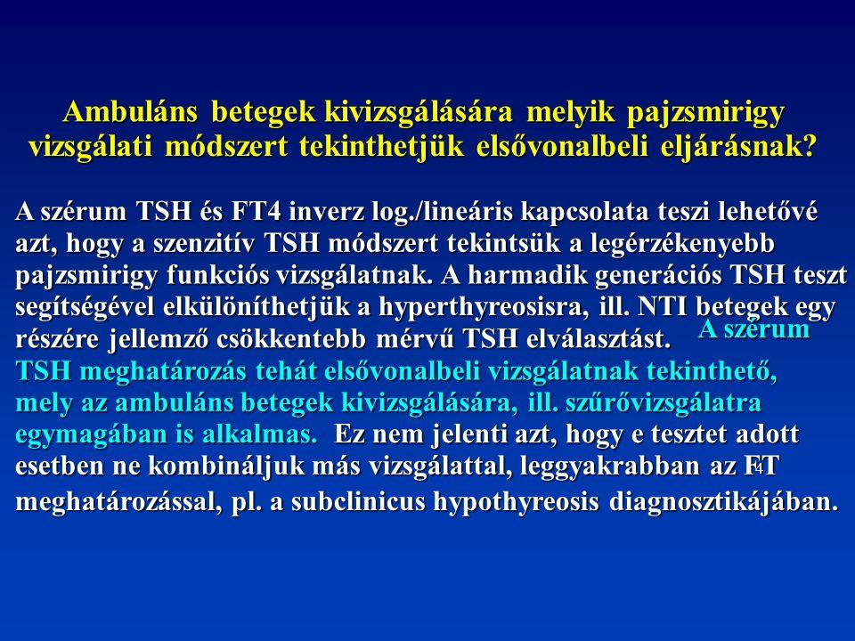 Ambuláns betegek kivizsgálására melyik pajzsmirigy vizsgálati módszert tekinthetjük elsővonalbeli eljárásnak? A szérum TSH és FT4 inverz log./lineáris