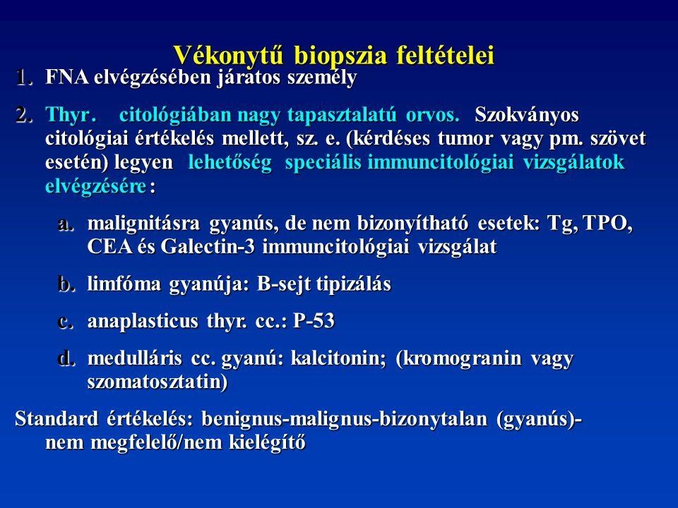 Vékonytű biopszia feltételei Vékonytű biopszia feltételei 1. FNA elvégzésében járatos személy 2. Thyr. citológiában nagy tapasztalatú orvos. citológiá
