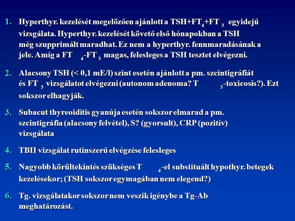 1. Hyperthyr. kezelését megelözően ajánlott a TSH+FT 4 +FT 3 egyidejű egyidejű vizsgálata. Hyperthyr. kezelését követő első hónapokban a TSH még szupp