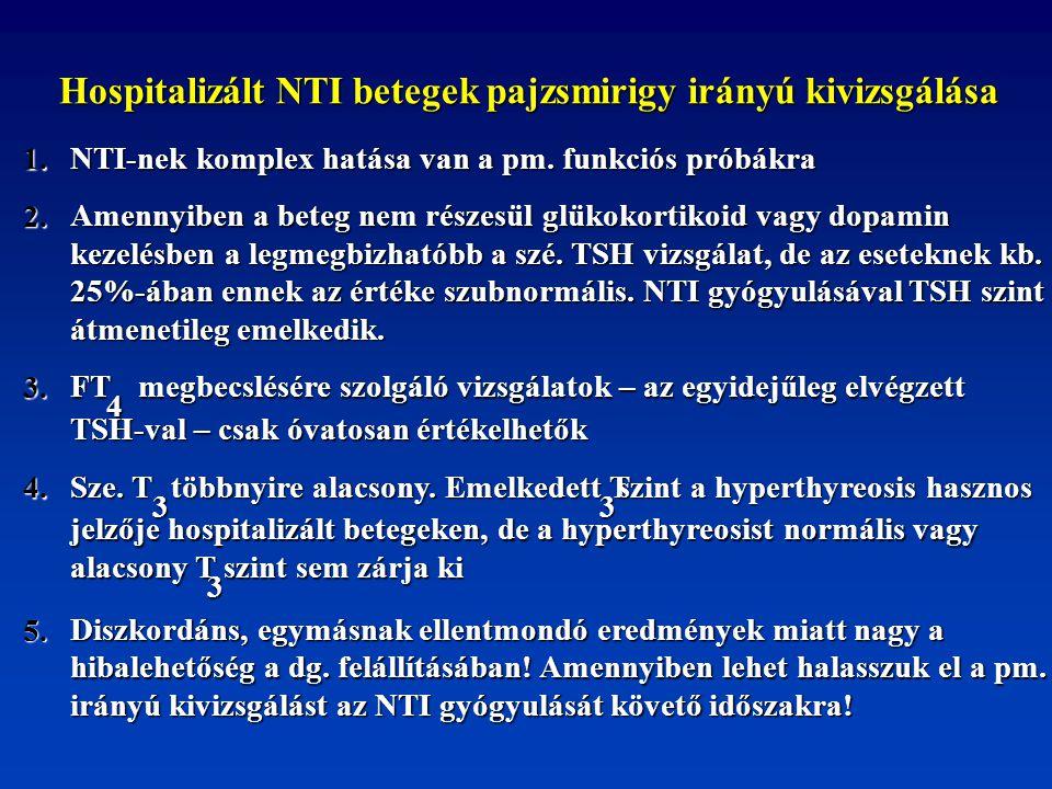 Hospitalizált NTI betegek pajzsmirigy irányú kivizsgálása Hospitalizált NTI betegek pajzsmirigy irányú kivizsgálása 1. NTI-nek komplex hatása van a pm