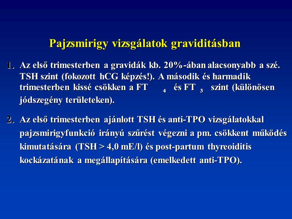 Pajzsmirigy vizsgálatok graviditásban Pajzsmirigy vizsgálatok graviditásban 1. Az első trimesterben a gravidák kb. 20%-ában alacsonyabb a szé. TSH szi