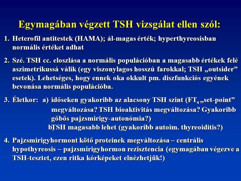Egymagában végzett TSH vizsgálat ellen szól: 1. Heterofil antitestek (HAMA); ál-magas érték; hyperthyreosisban normális értéket adhat 2. Szé. TSH cc.