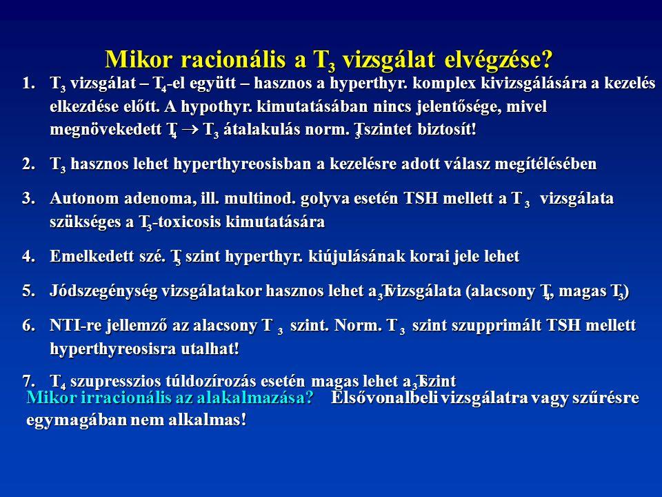 Mikor racionális a T 3 vizsgálat elvégzése? vizsgálat elvégzése? 1.T 3 vizsgálat – T vizsgálat – T 4 -el együtt – hasznos a hyperthyr. komplex kivizsg