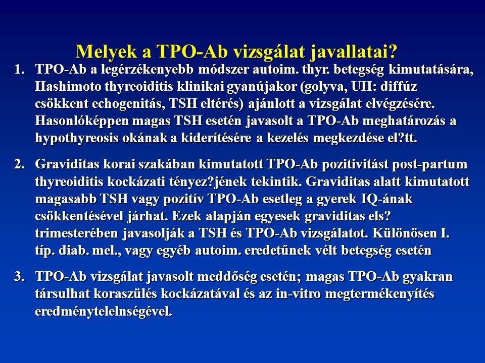 Melyek a TPO-Ab vizsgálat javallatai? 1. TPO-Ab a legérzékenyebb módszer autoim. thyr. betegség kimutatására, Hashimoto thyreoiditis klinikai gyanújak