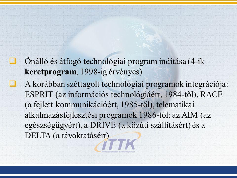  Önálló és átfogó technológiai program indítása (4-ik keretprogram, 1998-ig érvényes)  A korábban széttagolt technológiai programok integrációja: ES