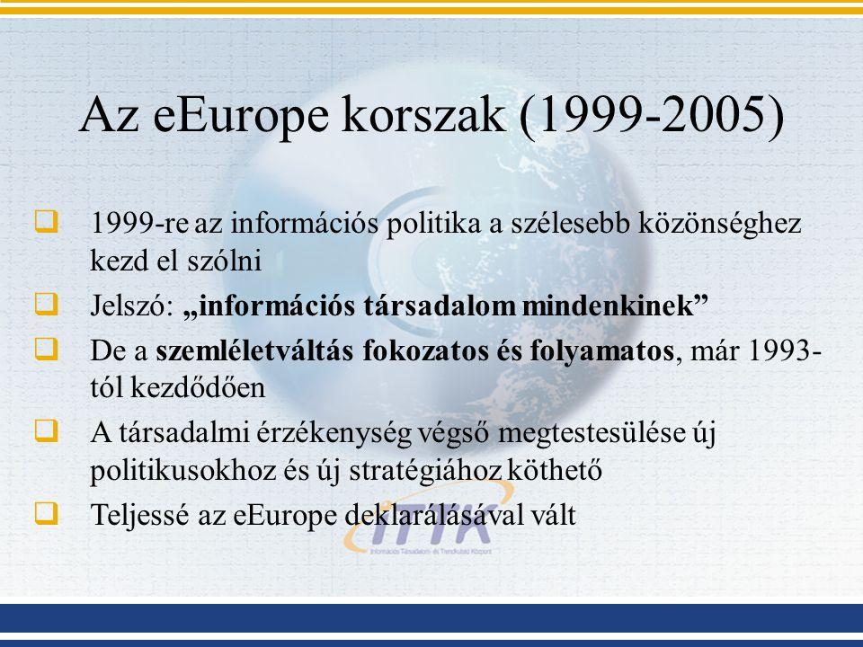 """Az eEurope korszak (1999-2005)  1999-re az információs politika a szélesebb közönséghez kezd el szólni  Jelszó: """"információs társadalom mindenkinek"""""""