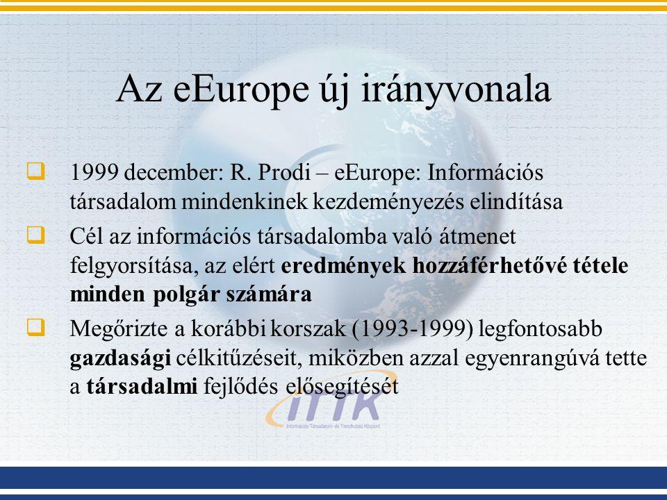 Az eEurope új irányvonala  1999 december: R. Prodi – eEurope: Információs társadalom mindenkinek kezdeményezés elindítása  Cél az információs társad