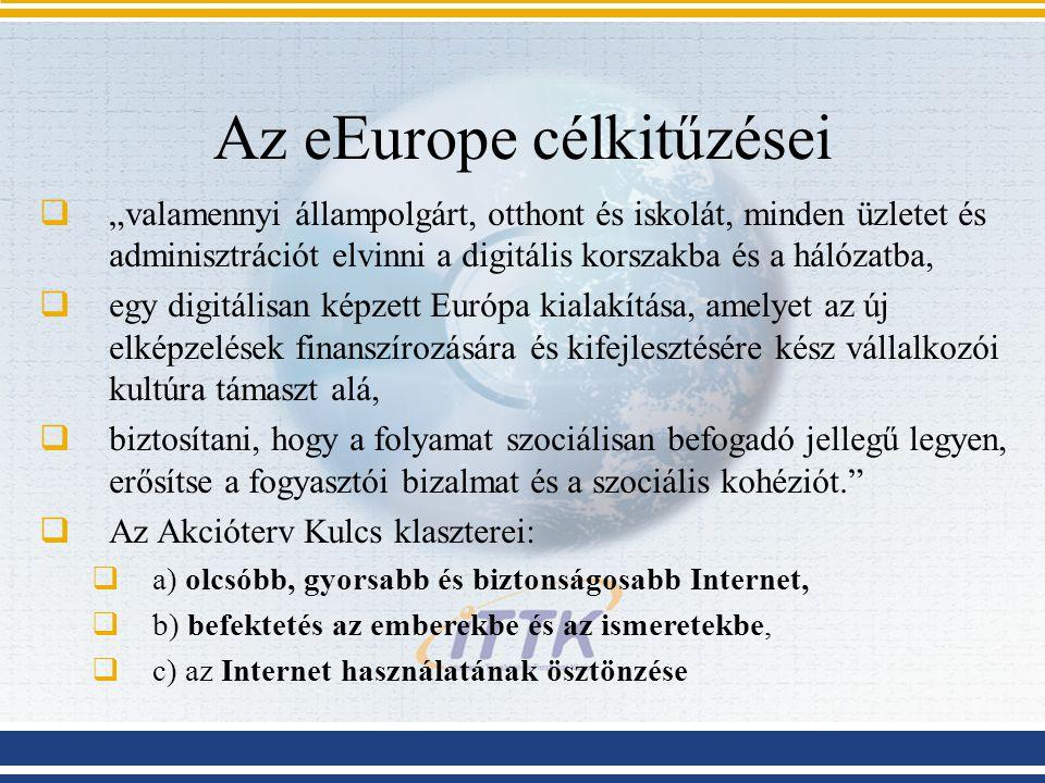 """Az eEurope célkitűzései  """"valamennyi állampolgárt, otthont és iskolát, minden üzletet és adminisztrációt elvinni a digitális korszakba és a hálózatba"""