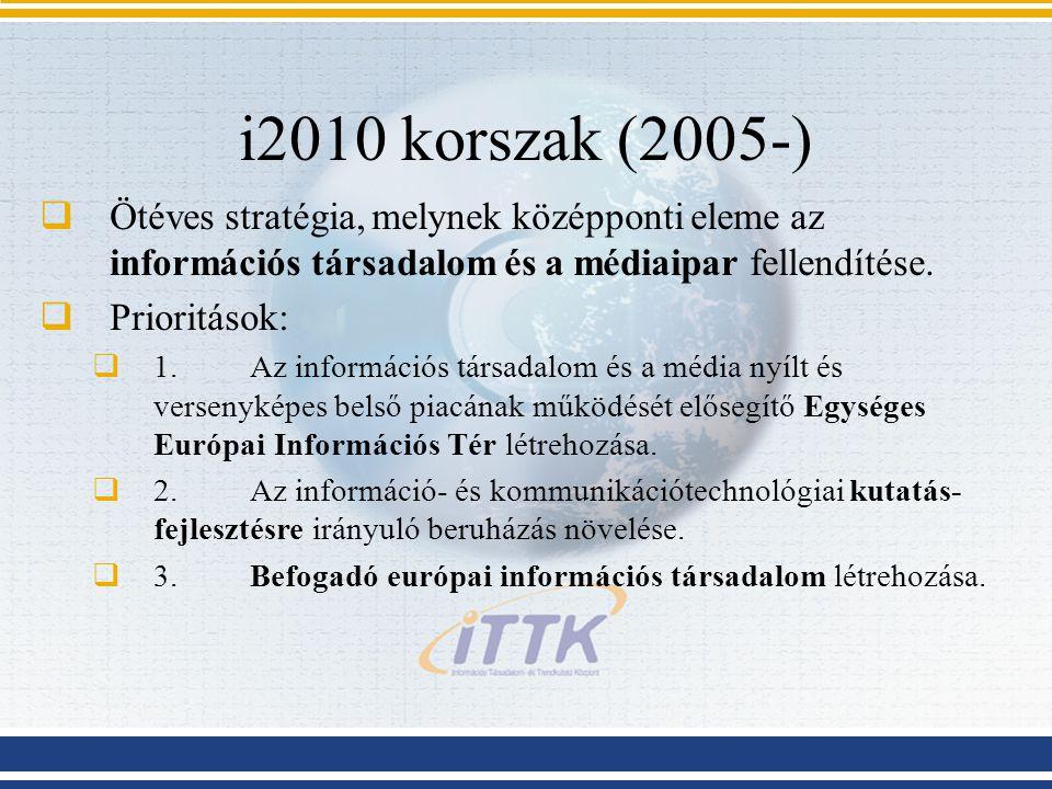 i2010 korszak (2005-)  Ötéves stratégia, melynek középponti eleme az információs társadalom és a médiaipar fellendítése.  Prioritások:  1.Az inform