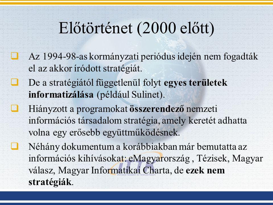 Előtörténet (2000 előtt)  Az 1994-98-as kormányzati periódus idején nem fogadták el az akkor íródott stratégiát.  De a stratégiától függetlenül foly