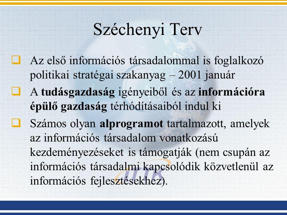 Széchenyi Terv  Az első információs társadalommal is foglalkozó politikai stratégai szakanyag – 2001 január  A tudásgazdaság igényeiből és az inform