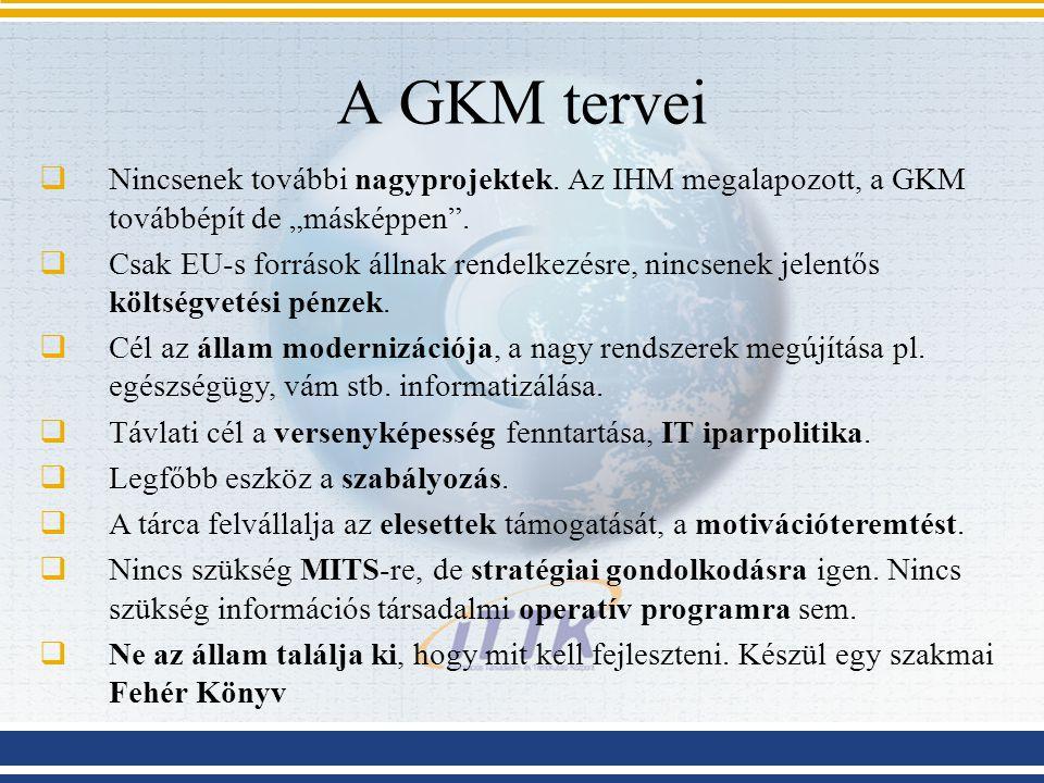 """A GKM tervei  Nincsenek további nagyprojektek. Az IHM megalapozott, a GKM továbbépít de """"másképpen"""".  Csak EU-s források állnak rendelkezésre, nincs"""