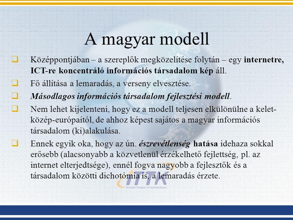 A magyar modell  Középpontjában – a szereplők megközelítése folytán – egy internetre, ICT-re koncentráló információs társadalom kép áll.  Fő állítás