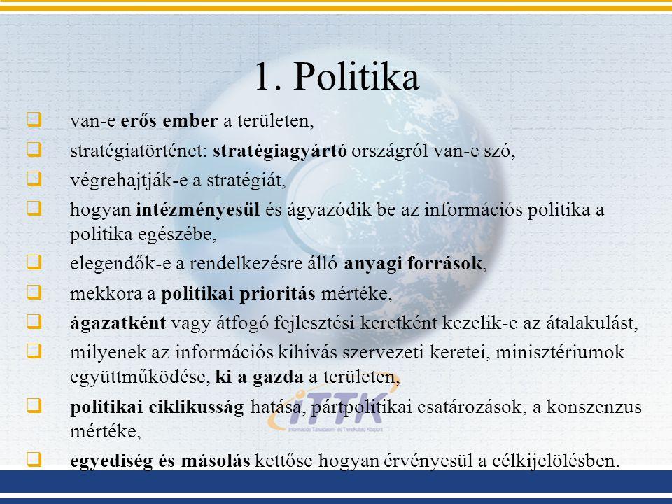 1. Politika  van-e erős ember a területen,  stratégiatörténet: stratégiagyártó országról van-e szó,  végrehajtják-e a stratégiát,  hogyan intézmén
