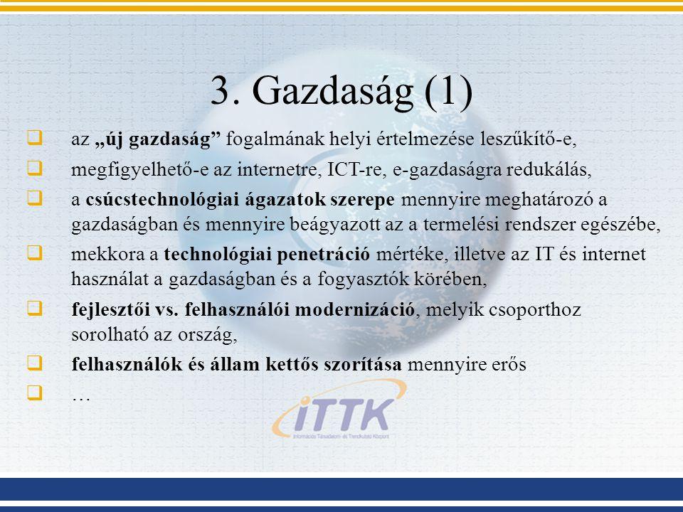 """3. Gazdaság (1)  az """"új gazdaság"""" fogalmának helyi értelmezése leszűkítő-e,  megfigyelhető-e az internetre, ICT-re, e-gazdaságra redukálás,  a csúc"""