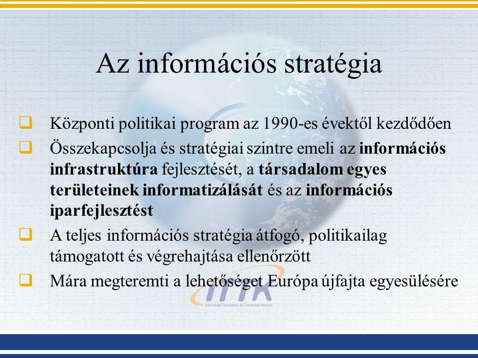 Az információs stratégia  Központi politikai program az 1990-es évektől kezdődően  Összekapcsolja és stratégiai szintre emeli az információs infrast