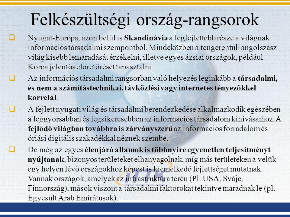 Felkészültségi ország-rangsorok  Nyugat-Európa, azon belül is Skandinávia a legfejlettebb része a világnak információs társadalmi szempontból. Mindek