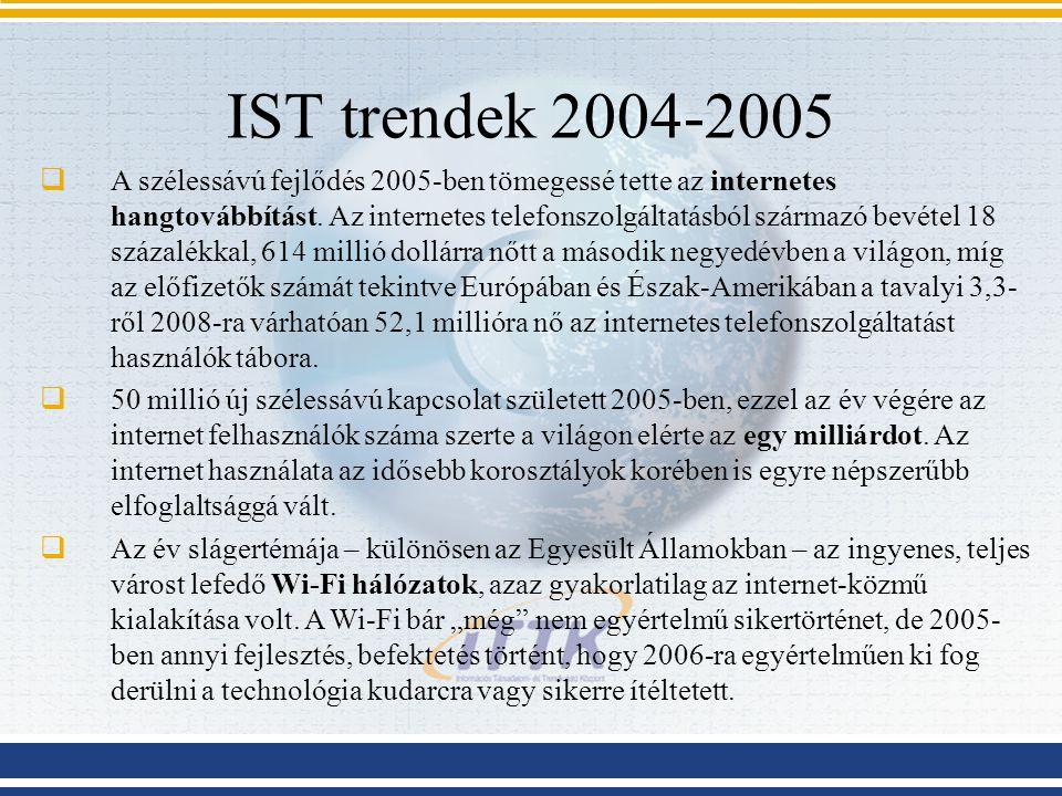 IST trendek 2004-2005  A szélessávú fejlődés 2005-ben tömegessé tette az internetes hangtovábbítást. Az internetes telefonszolgáltatásból származó be