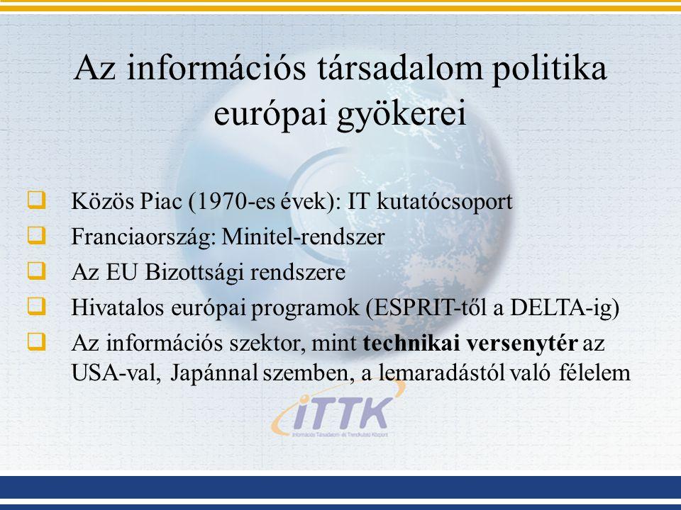 Az információs társadalom politika európai gyökerei  Közös Piac (1970-es évek): IT kutatócsoport  Franciaország: Minitel-rendszer  Az EU Bizottsági