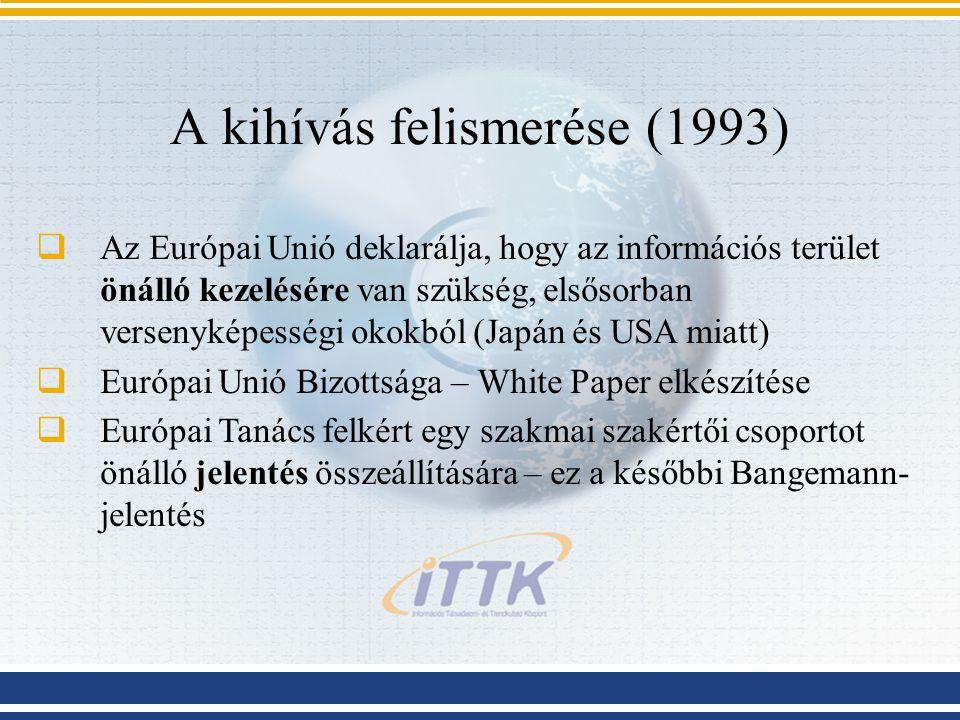 A kihívás felismerése (1993)  Az Európai Unió deklarálja, hogy az információs terület önálló kezelésére van szükség, elsősorban versenyképességi okok