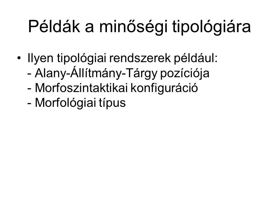 Példák a minőségi tipológiára Ilyen tipológiai rendszerek például: - Alany-Állítmány-Tárgy pozíciója - Morfoszintaktikai konfiguráció - Morfológiai tí