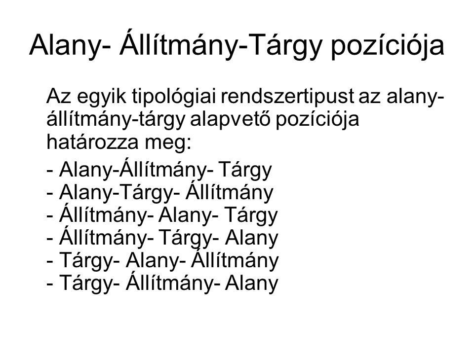 Alany- Állítmány-Tárgy pozíciója Az egyik tipológiai rendszertipust az alany- állítmány-tárgy alapvető pozíciója határozza meg: - Alany-Állítmány- Tárgy - Alany-Tárgy- Állítmány - Állítmány- Alany- Tárgy - Állítmány- Tárgy- Alany - Tárgy- Alany- Állítmány - Tárgy- Állítmány- Alany