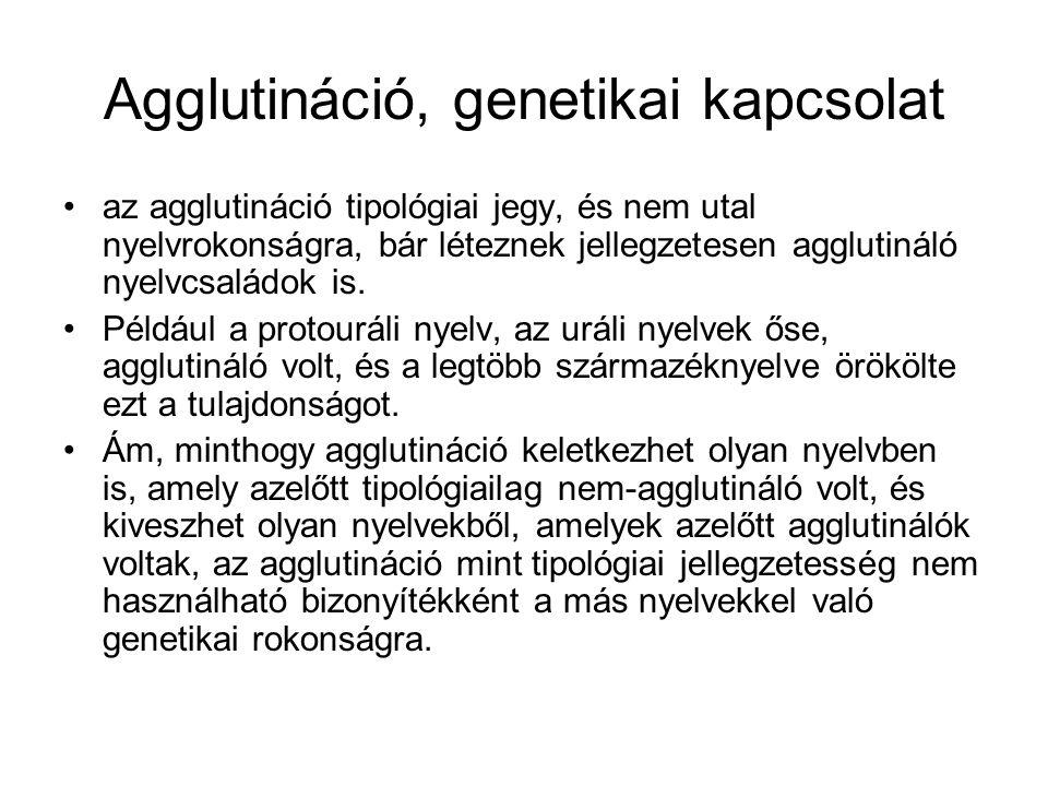 Agglutináció, genetikai kapcsolat az agglutináció tipológiai jegy, és nem utal nyelvrokonságra, bár léteznek jellegzetesen agglutináló nyelvcsaládok is.