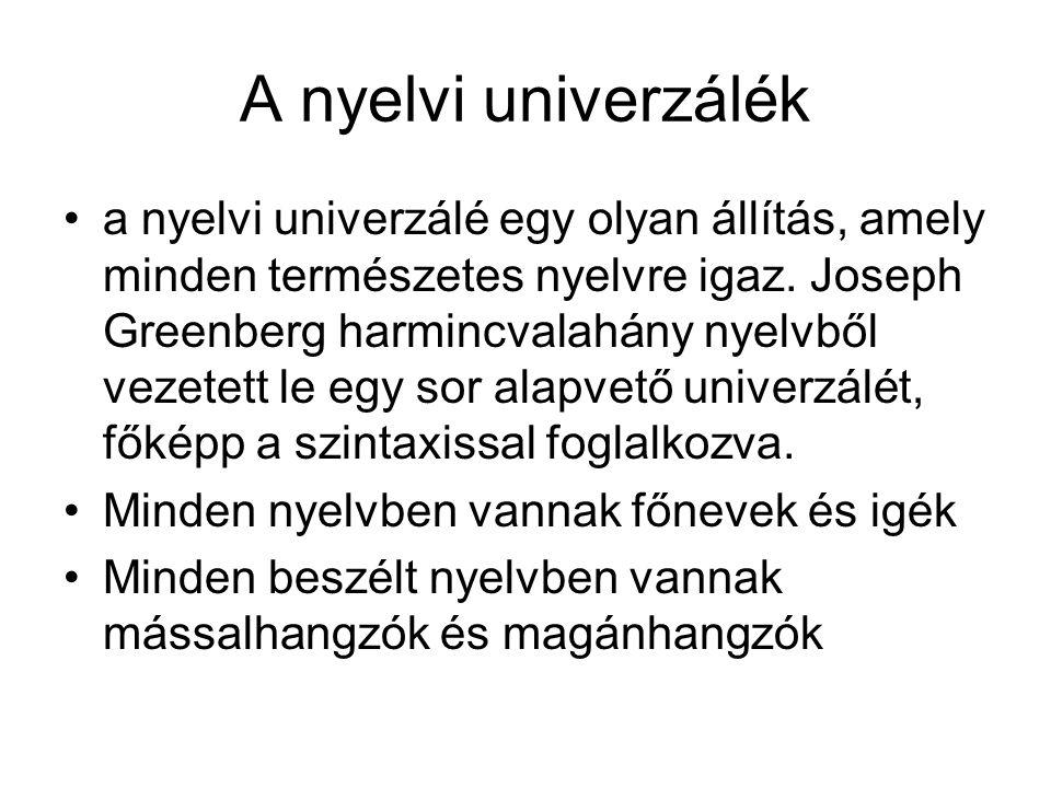 A nyelvi univerzálék a nyelvi univerzálé egy olyan állítás, amely minden természetes nyelvre igaz. Joseph Greenberg harmincvalahány nyelvből vezetett