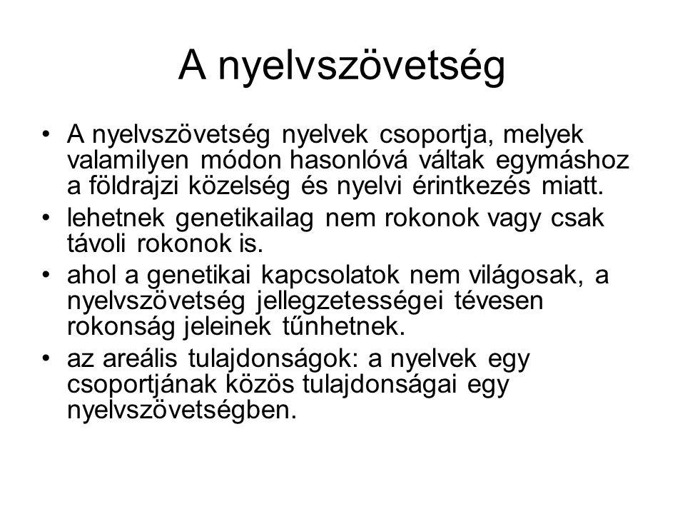 A nyelvszövetség A nyelvszövetség nyelvek csoportja, melyek valamilyen módon hasonlóvá váltak egymáshoz a földrajzi közelség és nyelvi érintkezés miat