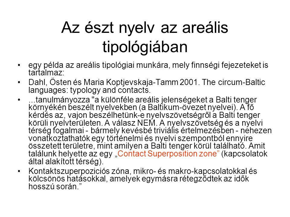 Az észt nyelv az areális tipológiában egy példa az areális tipológiai munkára, mely finnségi fejezeteket is tartalmaz: Dahl, Östen és Maria Koptjevska