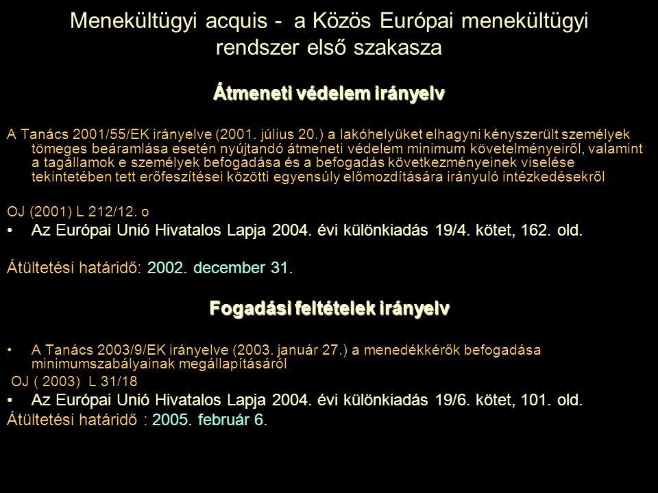 Menekültügyi acquis - a Közös Európai menekültügyi rendszer első szakasza Átmeneti védelem irányelv A Tanács 2001/55/EK irányelve (2001. július 20.) a