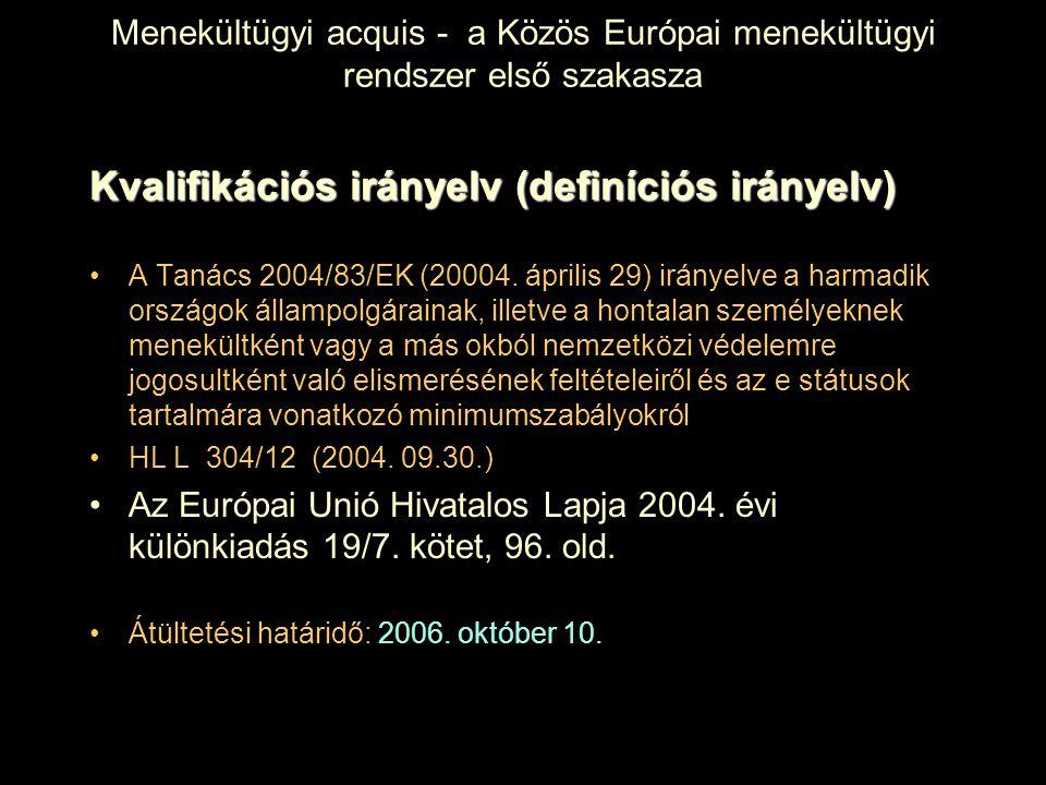 Menekültügyi acquis - a Közös Európai menekültügyi rendszer első szakasza Kvalifikációs irányelv (definíciós irányelv) A Tanács 2004/83/EK (20004. ápr