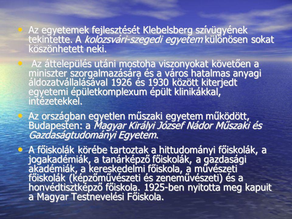 Az egyetemek fejlesztését Klebelsberg szívügyének tekintette. A kolozsvári-szegedi egyetem különösen sokat köszönhetett neki. Az egyetemek fejlesztésé
