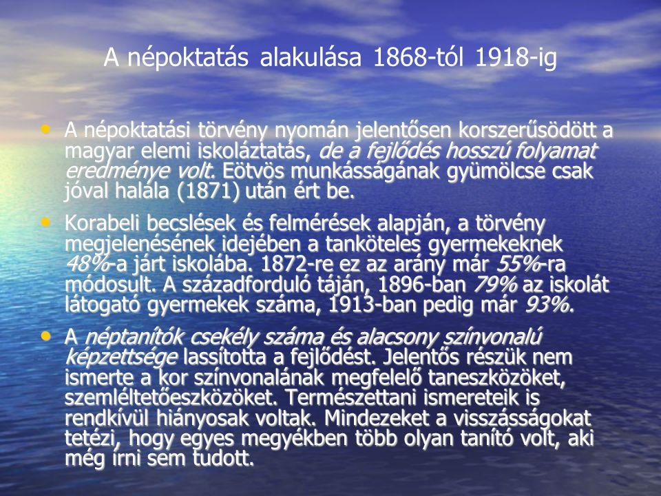 A népoktatás alakulása 1868-tól 1918-ig A népoktatási törvény nyomán jelentősen korszerűsödött a magyar elemi iskoláztatás, de a fejlődés hosszú folyamat eredménye volt.
