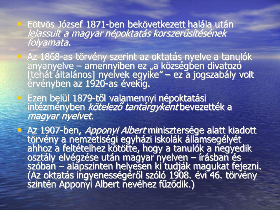 Eötvös József 1871-ben bekövetkezett halála után lelassult a magyar népoktatás korszerűsítésének folyamata. Eötvös József 1871-ben bekövetkezett halál