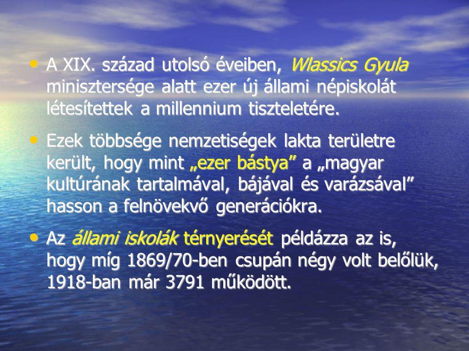 A XIX. század utolsó éveiben, Wlassics Gyula minisztersége alatt ezer új állami népiskolát létesítettek a millennium tiszteletére. A XIX. század utols