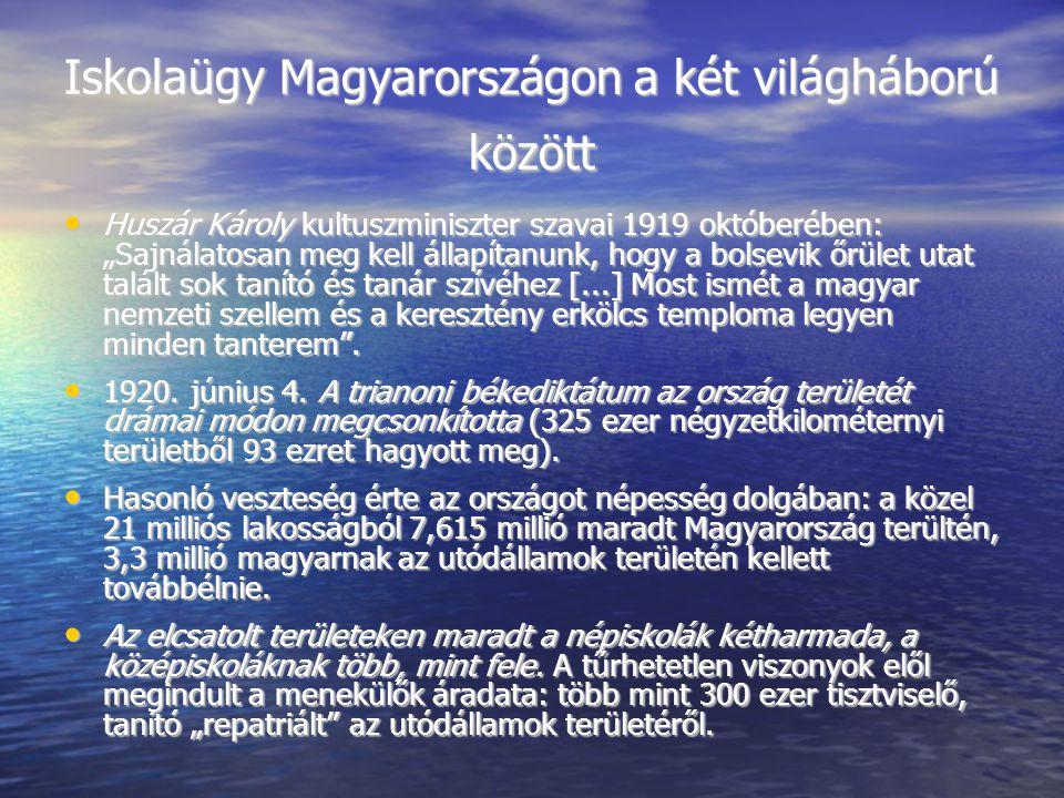 """Iskolaügy Magyarországon a két világháború között Huszár Károly kultuszminiszter szavai 1919 októberében: """"Sajnálatosan meg kell állapítanunk, hogy a bolsevik őrület utat talált sok tanító és tanár szívéhez [...] Most ismét a magyar nemzeti szellem és a keresztény erkölcs temploma legyen minden tanterem ."""