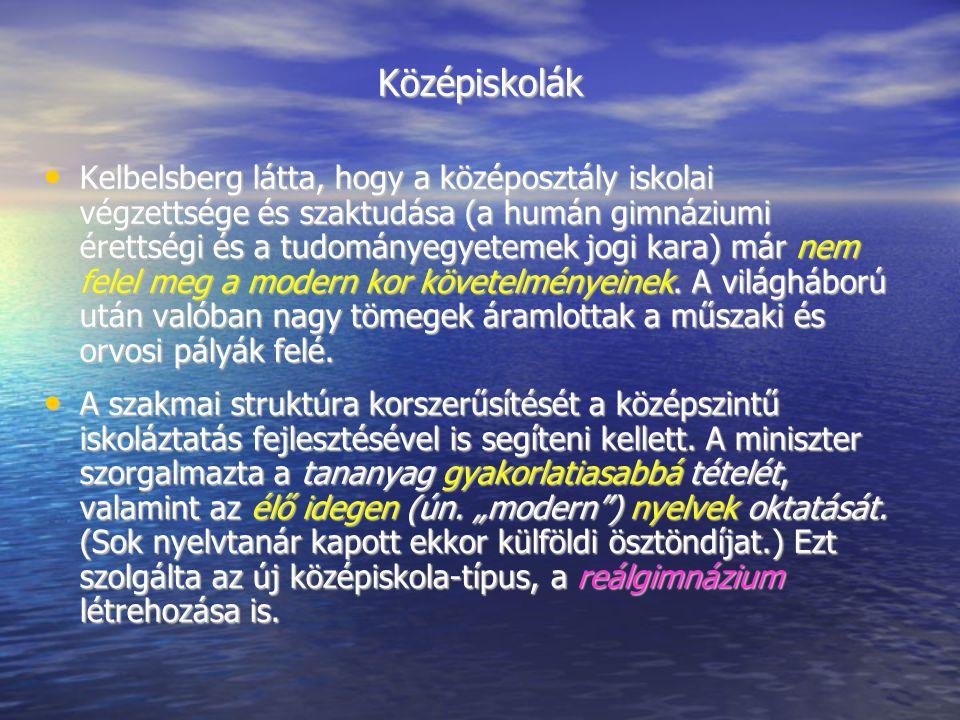Középiskolák Kelbelsberg látta, hogy a középosztály iskolai végzettsége és szaktudása (a humán gimnáziumi érettségi és a tudományegyetemek jogi kara)
