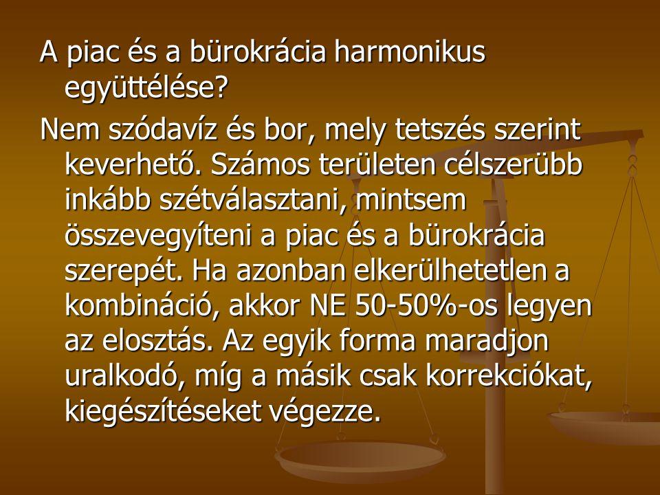 A piac és a bürokrácia harmonikus együttélése? Nem szódavíz és bor, mely tetszés szerint keverhető. Számos területen célszerübb inkább szétválasztani,