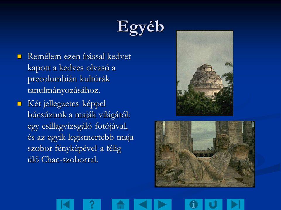 Egyéb Remélem ezen írással kedvet kapott a kedves olvasó a precolumbián kultúrák tanulmányozásához. Remélem ezen írással kedvet kapott a kedves olvasó