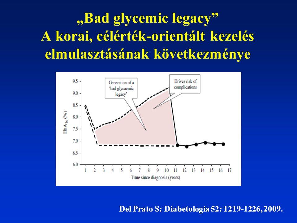 """""""Bad glycemic legacy"""" A korai, célérték-orientált kezelés elmulasztásának következménye Del Prato S: Diabetologia 52: 1219-1226, 2009."""