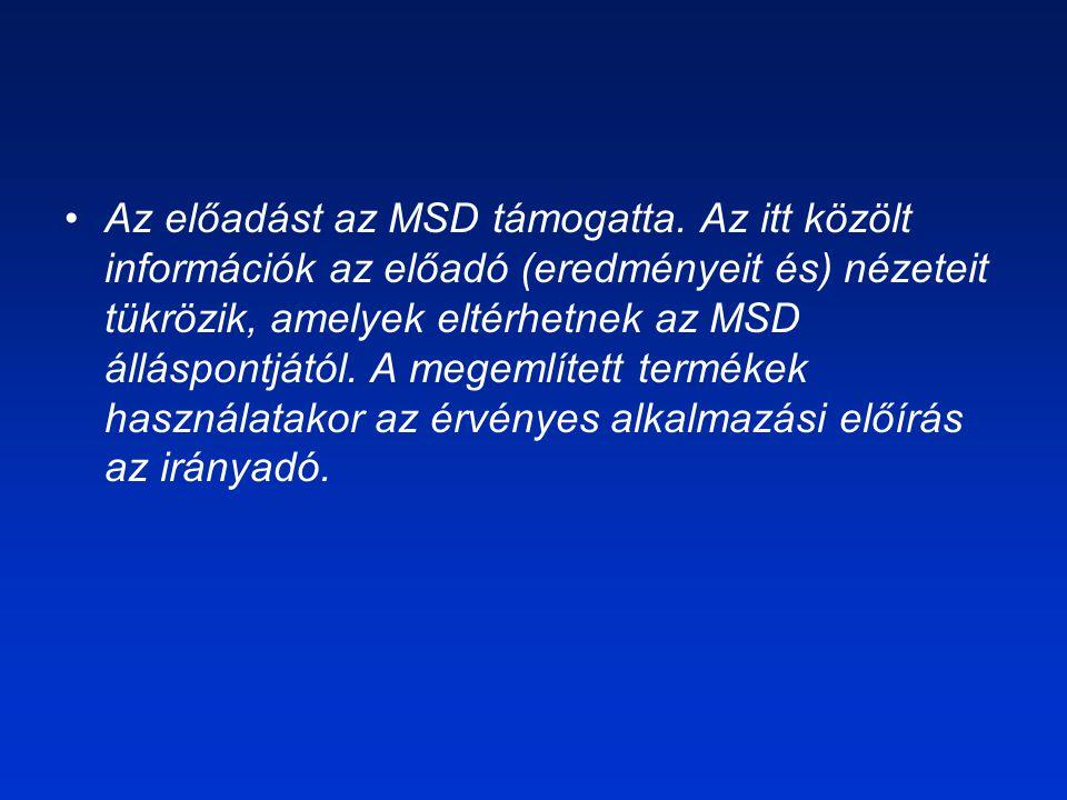 Az előadást az MSD támogatta. Az itt közölt információk az előadó (eredményeit és) nézeteit tükrözik, amelyek eltérhetnek az MSD álláspontjától. A meg