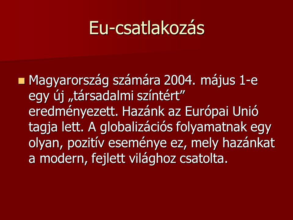 """Eu-csatlakozás Magyarország számára 2004. május 1-e egy új """"társadalmi színtért"""" eredményezett. Hazánk az Európai Unió tagja lett. A globalizációs fol"""