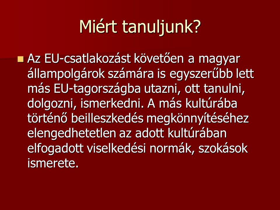 Miért tanuljunk? Az EU-csatlakozást követően a magyar állampolgárok számára is egyszerűbb lett más EU-tagországba utazni, ott tanulni, dolgozni, ismer