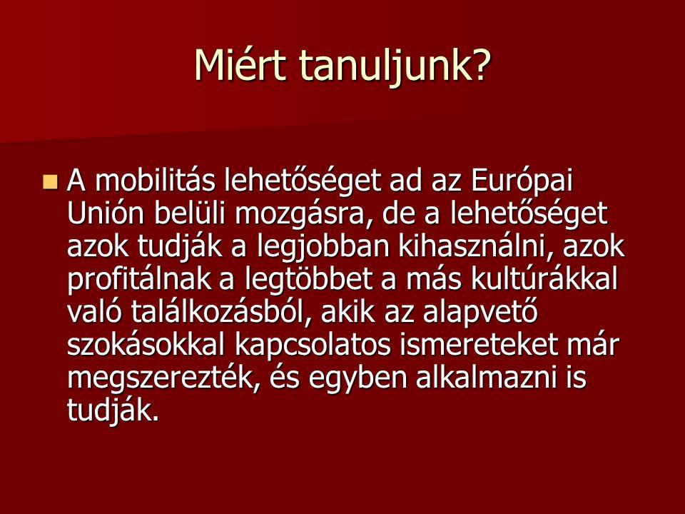 Miért tanuljunk? A mobilitás lehetőséget ad az Európai Unión belüli mozgásra, de a lehetőséget azok tudják a legjobban kihasználni, azok profitálnak a