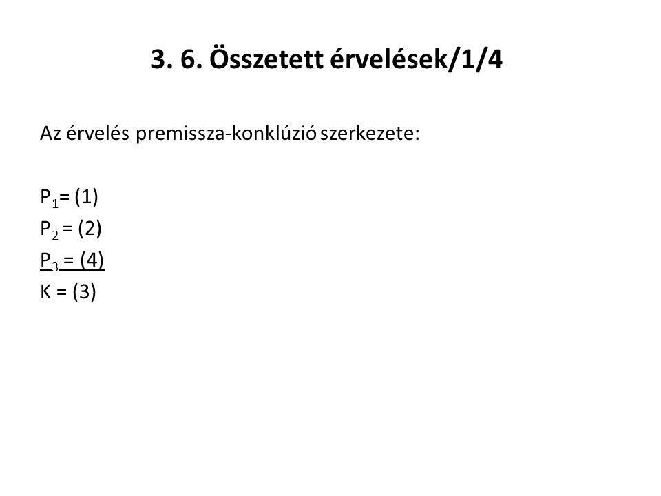 3. 6. Összetett érvelések/1/4 Az érvelés premissza-konklúzió szerkezete: P 1 = (1) P 2 = (2) P 3 = (4) K = (3)