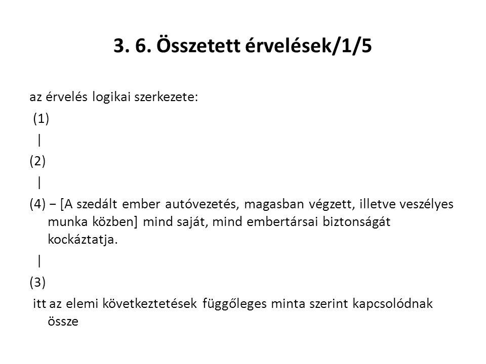 3. 6. Összetett érvelések/1/5 az érvelés logikai szerkezete: (1) | (2) | (4) − [A szedált ember autóvezetés, magasban végzett, illetve veszélyes munka