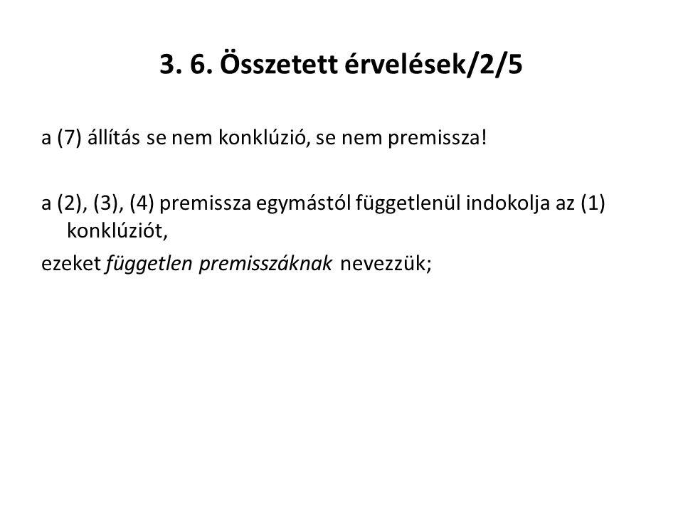 3. 6. Összetett érvelések/2/5 a (7) állítás se nem konklúzió, se nem premissza! a (2), (3), (4) premissza egymástól függetlenül indokolja az (1) konkl