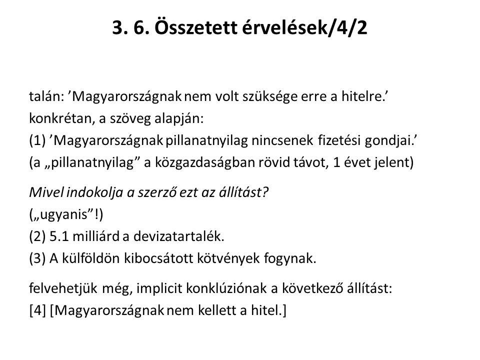 3. 6. Összetett érvelések/4/2 talán: 'Magyarországnak nem volt szüksége erre a hitelre.' konkrétan, a szöveg alapján: (1) 'Magyarországnak pillanatnyi
