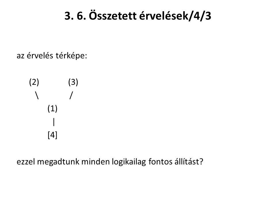 3. 6. Összetett érvelések/4/3 az érvelés térképe: (2) (3) \ / (1) | [4] ezzel megadtunk minden logikailag fontos állítást?